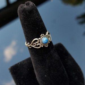 Vintage Antiqued Sterling Silver Lapis Ring
